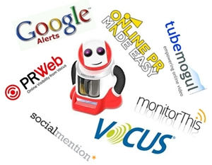 Logos for Vocus, Google, PRWeb, Tubemogul and others offer preview of content on this and linked pages.