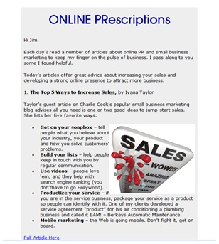 Screenshot of first edition of ONLINE PRescriptions newsletter.
